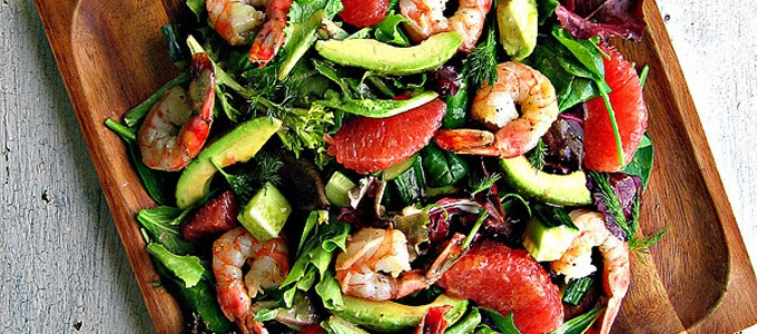 salade crevettes avocat pamplemousse