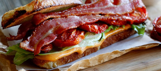 sandwich tomates roties lard