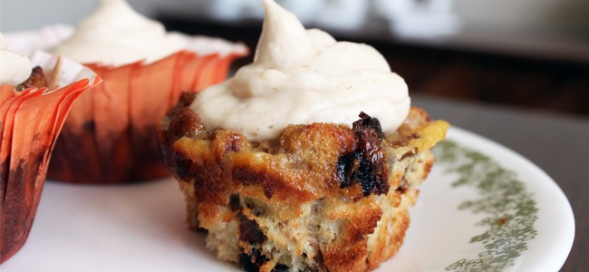 bread pudding cupcakes creme fromage cannelle
